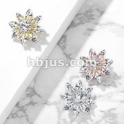 Round CZ Centered Marquise CZ Petal Flower Dermal Anchor Top