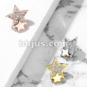 CZ Paved Double Star Internal Thread Dermal Anchor Top
