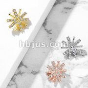 CZ Paved Snow Flake Inteernal Thread Dermal Anchor Top
