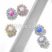 CZ Flower with Opal Center Internal Threaded Dermal Anchor Tops