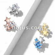 CZ Cluster Stars Internally Threaded Dermal Anchor Tops