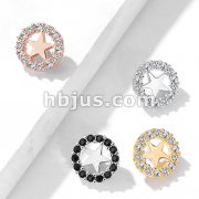 CZ Paved Circle Outlined Star Center Internal Threaded Dermal Anchor Tops