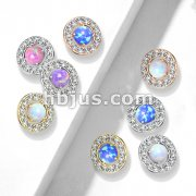 Prong Set Opal Center with CZ Paved Surrounding 316L Surgical Steel Internally Threaded Dermal Anchor Tops