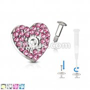 CZ Paved Heart Dermal Jacket and 316L Stainless Steel Pin Dermal Top