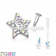 Crystal Paved Star Dermal Anchor Jacket with 316L surgical Steel Screw onPost