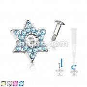 Crystal Paved David Star Dermal Anchor Jacket with 316L surgical Steel Screw on Post