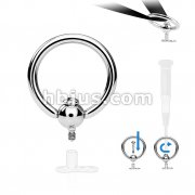 Rotating Captive Bead Ring 316L Surgical Steel Dermal Anchor Top with Screw inThreading Post