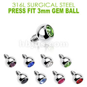 Press Fit Gem/3mm for Internally Threaded Dermal Anchors 316L Internally Threaded Surgical Steel .  Fits into our Dermal Anchors