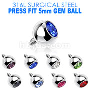 Press Fit Gem/5mm for Internally Threaded Dermal Anchors 316L Internally Threaded Surgical Steel .  Fits into our Dermal Anchors