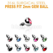 Press Fit Gem/2mm for Internally Threaded Dermal Anchors 316L Surgical Steel .  Fits into our Dermal Anchors