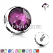 Gem Set Flat Bottom Dome for Internally Threaded Dermal Anchors 316L Surgical Steel.Fits into our Dermal Anchors