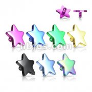 Titanium IP over 316L Surgical Steel Internally Threaded Flat 4mm Star Dermal Top 60pc Pack (10pcs x 6 colors)