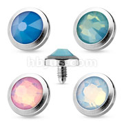 Flat Top Opalite Gem 316L Surgical Steel Dermal Anchor Top (20pcs x 4color)