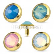 Flat Top Opalite Gem Gold IP Over 316L Surgical Steel Dermal Anchor