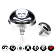 Dome Logo 5mm Dermal Anchor Tops Internally Threaded.  Fits into our Dermal Anchors