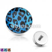 Leopard Print Inlayed Dome Dermal Top 316L Surgical Steel Internally Threaded