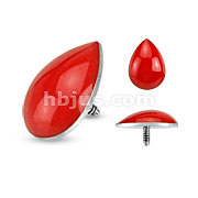 316L Surgical Steel Internally Threaded Blood Drop Dermal Top