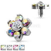 Prong Set Crystal Flower 316L Surgical Steel Internally Threaded Dermal Anchor Top