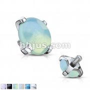 Semi Precious Stone Prong Set 316L Surgical Steel Internally Threaded Dermal Anchor Top