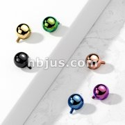 Ball Dermal Top Titanium IP Over 316L Stainless Steel Internally Threaded