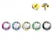 Titanium Anodized Internally Threaded Flat Dome CZ 3mm Dermal Top 50pc Pack (10pcs x 5 colors)