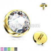Flat Dome CZ Dermal Top Titanium IP Over 316L Surgical Steel Internally Threaded