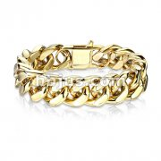 Gold IP Stainless Steel Square Curb Chain Bracelet