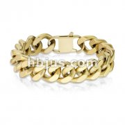 Matte Gold IP Stainless Steel Square Curb Chain Bracelet