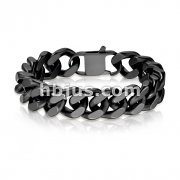 Matte Black IP Stainless Steel Square Curb Chain Bracelet