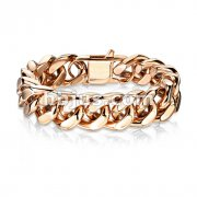 Rose Gold Stainless Steel SquareCurb Chain Bracelet