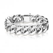 Stainless Steel Hand Polished SquareCurb Chain Bracelet