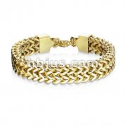 Gold IP Double Row Wheat Chain Stainless Steel Bracelet