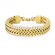 Matte Gold IP Double Row Wheat Chain Stainless Steel Bracelet