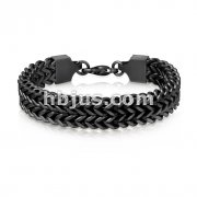 Matte Black IP Double Row Wheat Chain Stainless Steel Bracelet