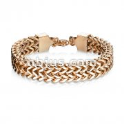 Rose Gold IP Double Row Wheat Chain Stainless Steel Bracelet