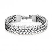 Double Row Wheat Chain Hand PolishedStainless Steel Bracelet