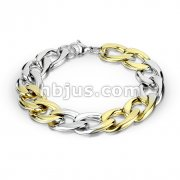 Steel and Gold Duo Tone Stainless Steel Chain Bracelet with Lobster Clasp