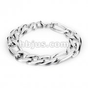Combination of Small and Large Links Stainless Steel Chain Bracelet with Lobster Clasp