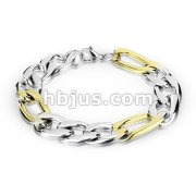 Combination of Small Steel and Large Gold Links Stainless Steel Chain Bracelet with Lobster Clasp