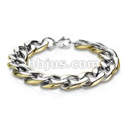 Stainless Steel Chain Bracelet with Gold Edge and Lobster Clasp
