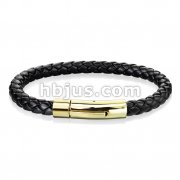 Black Bolo Braided Cord with Gold IP Catch Lock Stainless Steel Clasp Leather Bracelet