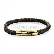 Brown Bolo Braided Cord with Gold IP Catch Lock Stainless Steel Clasp Leather Bracelet