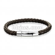 Brown Bolo Braided Cord with Catch Lock Stainless Steel Clasp Leather Bracelet