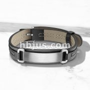 Plain Brushed Finish ID Engraving Plate Black Leather Bracelet with Buckle Style Closing