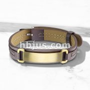 Gold IP Brushed Finish ID Engraving Plate Tan Leather Bracelet with Buckle Style Closing
