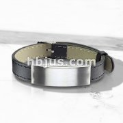 Plain Brushed Finish ID Engraving Tube Black Leather Bracelet with Buckle Style Closing