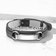Mirror Polished ID Plate Black Leather Bracelet with Buckle Style Closing
