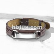 Mirror Polished ID Plate Tan Leather Bracelet with Buckle Style Closing