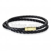 Double Wrap Black Bolo Braided Cord with Gold IP Magnetic Stainless Steel Clasp Leather Bracelet