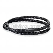 Double Wrap Black Bolo Braided Cord with Black IP Magnetic Stainless Steel Clasp Leather Bracelet
